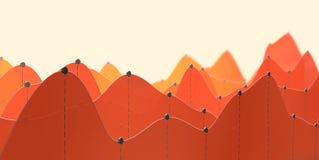 Illustration 3D eines orange Kurvendiagramms oder der Linie Diagramm Stockfoto