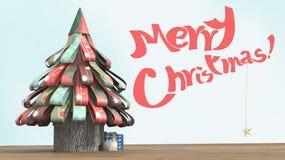 Illustration 3D eines Papierweihnachtsbaums, mit Geschenken auf Holzfußboden und Weihnachtswünschen Stockbilder