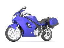 Illustration 3d eines purpurroten Sportmotorrades auf einem weißen Hintergrund Stockbilder