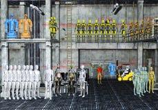 Illustration 3D eines Roboterlagers lizenzfreie stockfotos
