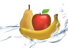 Illustration 3D eines Satzes reifer Früchte: Wasserspray, Banane, Apple, Birne lokalisiert auf weißem Hintergrund Lizenzfreie Stockbilder