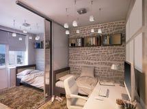 Illustration 3D eines Schlafzimmers für Geschwister Stockbilder