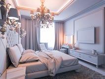 Illustration 3D eines Schlafzimmers ohne Farbe und Beschaffenheiten Stockfotografie