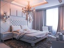 Illustration 3D eines Schlafzimmers ohne Farbe und Beschaffenheiten Lizenzfreie Stockfotos