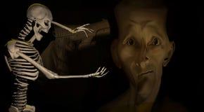 Illustration 3d eines skeleton Gestikulierens Stockfotos