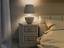 Illustration 3D eines weißen Schlafzimmers in der klassischen Art Stockfoto