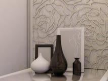 Illustration 3D eines weißen Schlafzimmers in der modernen Art Lizenzfreies Stockfoto