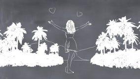 Illustration 3D eines whiteboard mit einer Zeichnung stock abbildung