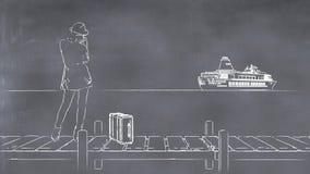 Illustration 3D eines whiteboard mit einer Zeichnung einer Frau lizenzfreie abbildung