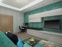 Illustration 3d eines Wohnzimmers in einer Türkisfarbe Lizenzfreies Stockfoto