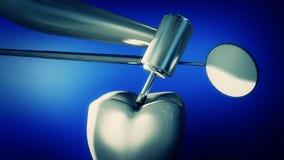 Illustration 3d eines Zahnarzt ` s Bohrgeräts und des Spiegels über einem einzelnen zu Lizenzfreies Stockbild