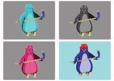 Illustration d'emblème de pingouins d'hockey illustration stock