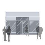 illustration 3D en dehors de magasin de détail Image stock