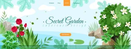 Illustration d'en-tête de site d'usines de jardin illustration de vecteur