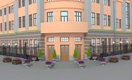 illustration 3d En uppdiktad byggnad med rabatter Arkivfoto