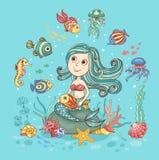 Illustration d'enfants avec la sirène Photos libres de droits