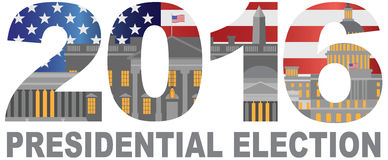 Illustration d'ensemble d'élection présidentielle des 2016 USA Photographie stock libre de droits