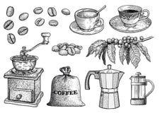 Illustration d'ensemble de café, dessin, gravure, encre, schéma, vecteur illustration libre de droits