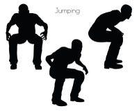 Illustration d'ENV 10 d'un homme dans la pose sautante sur le fond blanc Photos libres de droits