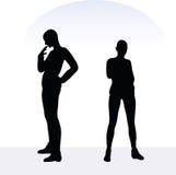 Illustration d'ENV 10 de femme dans la pose soucieuse sur le fond blanc Image stock