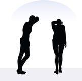 Illustration d'ENV 10 de femme dans la pose soucieuse sur le fond blanc Photo stock