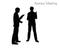 Illustration d'ENV 10 de l'homme dans la pose de réunion d'affaires sur le fond blanc Photographie stock