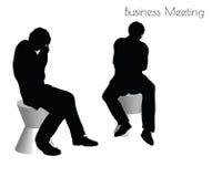 Illustration d'ENV 10 de l'homme dans la pose de réunion d'affaires sur le fond blanc Photo stock