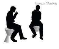 Illustration d'ENV 10 de l'homme dans la pose de réunion d'affaires sur le fond blanc Photos stock