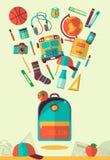 Illustration d'espace de travail d'école de vecteur Graphismes d'éducation et d'école réglés Style plat, longues ombres Objet de  Photographie stock libre de droits