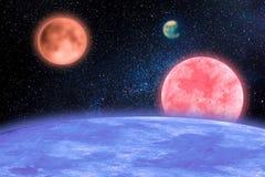 Illustration d'espace extra-atmosphérique avec différentes planètes images stock
