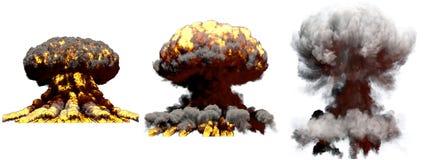 illustration 3D d'explosion - explosion différente énorme de champignon atomique du feu de 3 phases de bombe à hydrogène avec de  illustration de vecteur