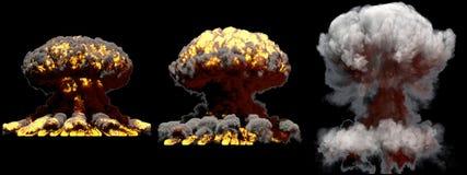 illustration 3D d'explosion - explosion différente énorme de champignon atomique du feu de 3 phases de bombe de fusion avec de la illustration stock