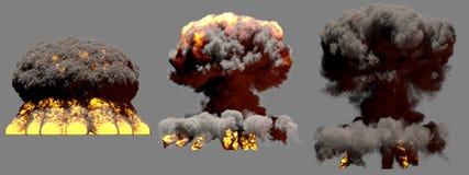 illustration 3D d'explosion - explosion différente énorme de champignon atomique du feu de 3 phases de bombe thermonucléaire avec illustration stock