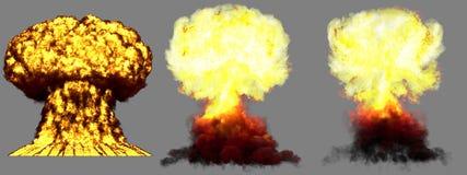 illustration 3D d'explosion - explosion différente détaillée de champignon atomique de 3 phases de grande haute de bombe d'arme n illustration de vecteur