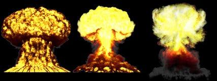 illustration 3D d'explosion - explosion différente détaillée de champignon atomique de 3 phases de grande très haute de bombe d'a illustration stock