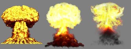 illustration 3D d'explosion - explosion différente détaillée de champignon atomique de 3 phases de grande très haute de bombe nuc illustration stock