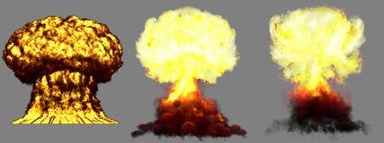 illustration 3D d'explosion - explosion différente détaillée de champignon atomique de 3 phases de grande très haute de bombe the illustration stock
