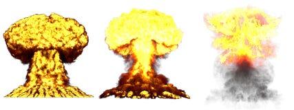 illustration 3D d'explosion - explosion différente détaillée de champignon atomique de 3 phases de haute énorme de bombe atomique illustration stock