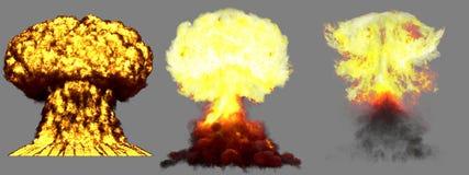 illustration 3D d'explosion - explosion différente détaillée de champignon atomique de 3 phases de haute énorme de bombe supe illustration stock