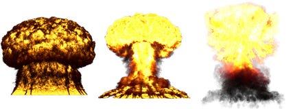 illustration 3D d'explosion - explosion différente détaillée de champignon atomique de 3 phases très de haute énorme de bomb illustration libre de droits