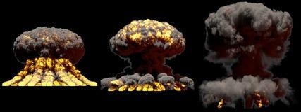 illustration 3D d'explosion - explosion diff?rente de champignon atomique du feu de 3 grande phases de bombe d'arme nucl?aire ave images stock