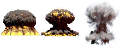 illustration 3D d'explosion - explosion différente de champignon atomique du feu de 3 grande phases de bombe atomique avec de la  illustration de vecteur