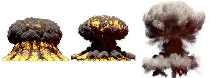 illustration 3D d'explosion - explosion différente de champignon atomique du feu de 3 grande phases de bombe atomique avec de la  illustration libre de droits