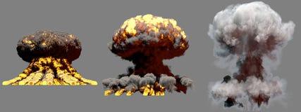 illustration 3D d'explosion - explosion différente de champignon atomique du feu de 3 grande phases de bombe de fusion avec de la illustration libre de droits