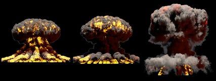 illustration 3D d'explosion - explosion différente de champignon atomique du feu de 3 grande phases de bombe nucléaire avec de la illustration libre de droits
