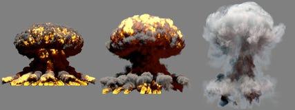 illustration 3D d'explosion - explosion différente de champignon atomique du feu de 3 grande phases de bombe superbe avec de la f illustration libre de droits