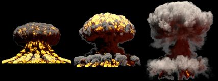 illustration 3D d'explosion - explosion différente de champignon atomique du feu de 3 grande phases de bombe superbe avec de la f illustration stock