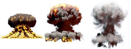 illustration 3D d'explosion - explosion différente de champignon atomique du feu de 3 grande phases de bombe thermonucléaire avec illustration libre de droits