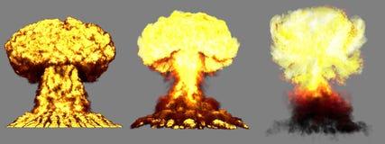 illustration 3D d'explosion - explosion différente fortement détaillée énorme de champignon atomique de 3 phases de bombe nucléai illustration libre de droits