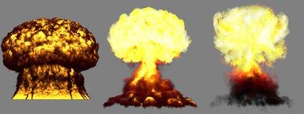 illustration 3D d'explosion - explosion différente fortement détaillée énorme de champignon atomique de 3 phases de bombe thermon illustration de vecteur